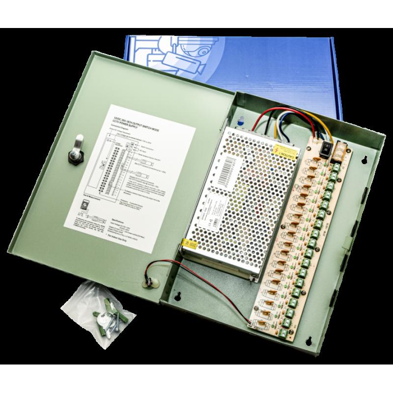 Захранване за видеонаблюдение DC12V 20A 18F със защита PA23