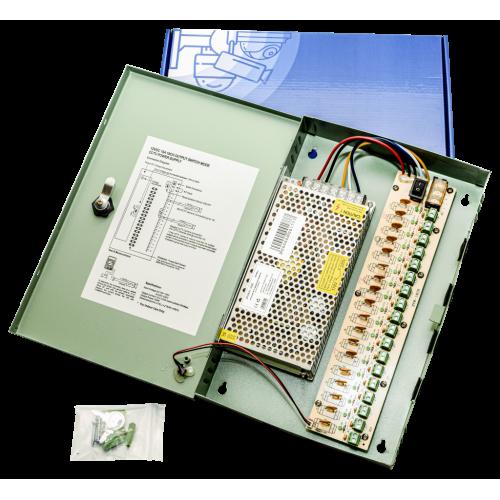 Захранване за видеонаблюдение 12V 10A 18 канала със защити, метална кутия PA21