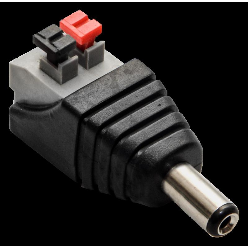Захранващ конектор с клипси за камери за видеонаблюдение (12v, 2,1/5,5mm мъжки).