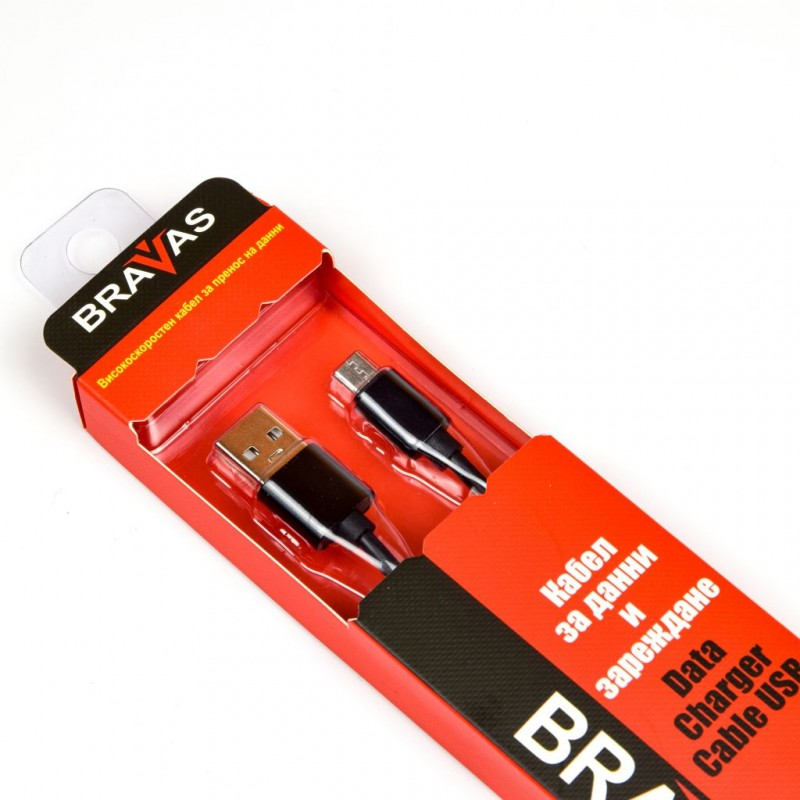 Кабел BRAVAS USB Type A -Type C черен 1м., сертифициран