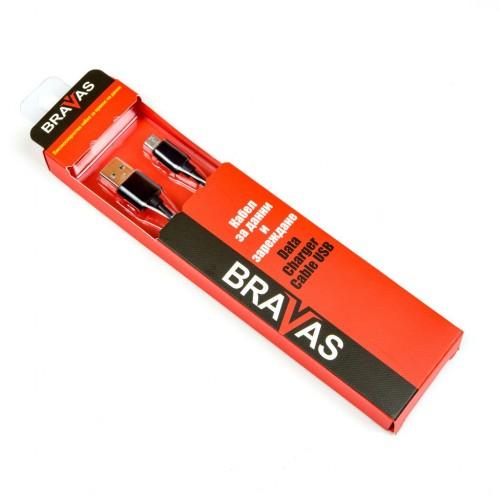 Кабел BRAVAS USB 2.0 Type A - Micro B TPE 1м. черен, сертифициран