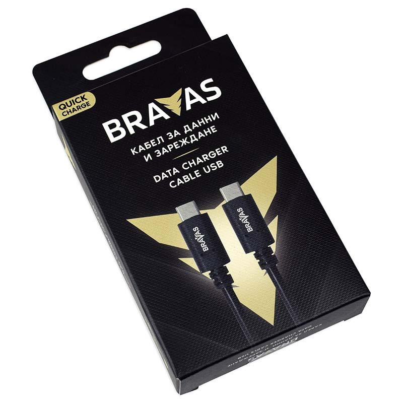 Кабел BRAVAS USB Type C - Type C черен 1м. QUICK CHARGE, сертифициран