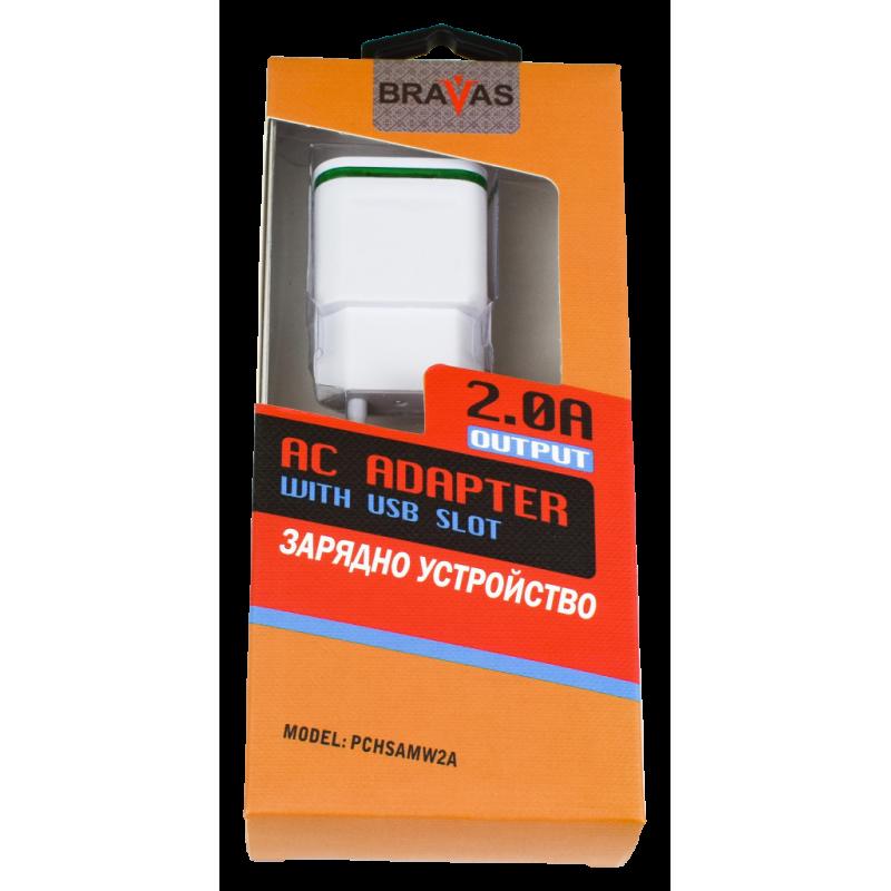 Зарядно устройство BRAVAS USB за стена 5V-2,1A/1A LED, сертифицирано