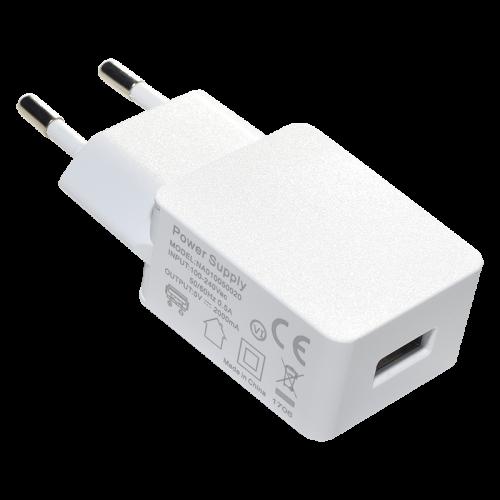 Зарядно устройство USB UL за стена 5V-2.1A, бяло