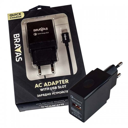 Зарядно устройство BRAVAS, USB Type A - Type C за стена QUICK CHARGE 3.0, сертифицирано